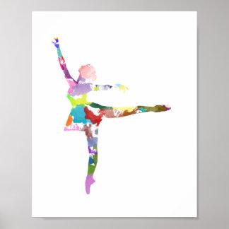 Wasserfarbe-Ballerina-Plakat Poster