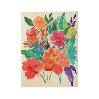 Wasserfarbe-Blumenblumenstrauß Holzposter