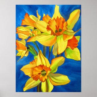 Wasserfarbe-Blumenkunst der gelben Narzissen Poster