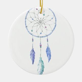 Wasserfarbe Dreamcatcher mit 3 Federn Keramik Ornament