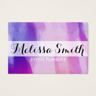 Wasserfarbe-Hintergrund-lila rosa Geschäfts-Karte Visitenkarte