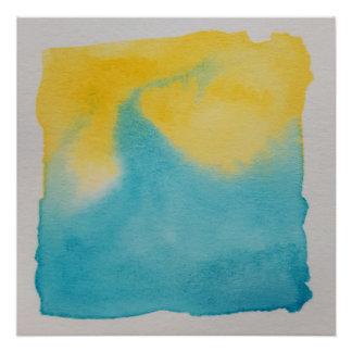 Wasserfarbe-Horizont-blauer gelber Plakat-Druck Perfektes Poster