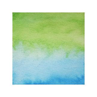 Wasserfarbe-Horizont-blaues Grün-eingewickelte Leinwanddrucke