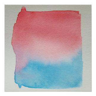 Wasserfarbe-Horizont-blaues Rot-Plakat-Druck Perfektes Poster