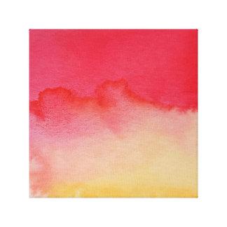 Wasserfarbe-Horizont-Gelb-Rot eingewickelte Galerie Falt Leinwand