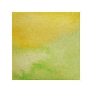 Wasserfarbe-Horizont-Grün-Gelb eingewickelte Leinwanddruck