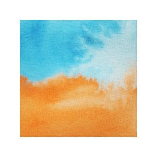 Wasserfarbe-Horizont-orange Blau eingewickelte Leinwand Drucke