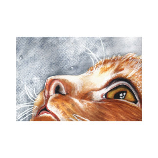 Wasserfarbe-Ingwer-Katze Leinwanddruck