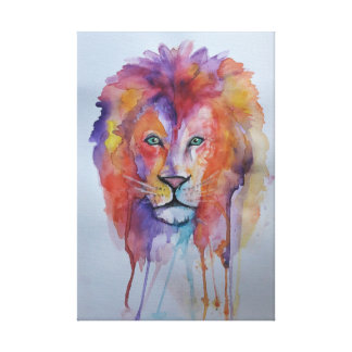 Wasserfarbe-Löwe Leinwanddruck