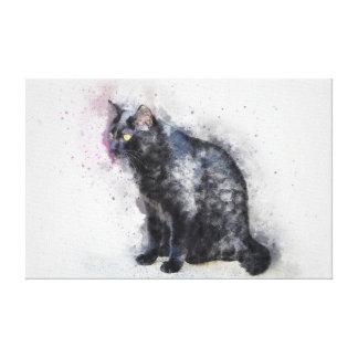 Wasserfarbe-schwarze Katzen-Leinwand-Druck Gespannte Galerie Drucke