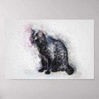 Wasserfarbe-schwarze Katzen-Plakat-Druck Poster