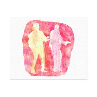 Wasserfarbe sillouttes von zwei Gitarrenspieler Ro Gespannte Galeriedrucke