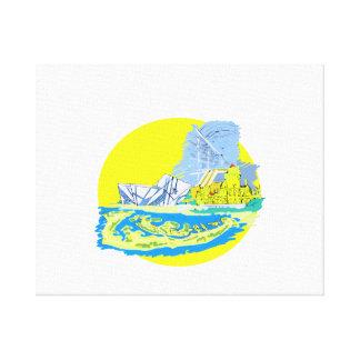 Wasserfarbe Torontos Kanada keine txt Stadtgraphik Gespannte Galerie Drucke