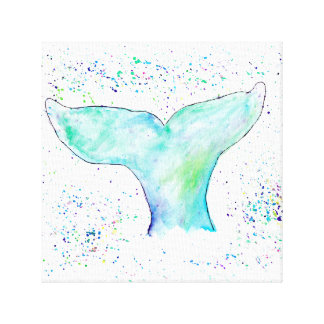 Wasserfarbe-Wal-Schwanz-Leinwand Leinwanddrucke