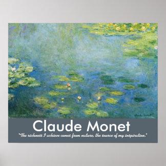 Wasserlilie-Künstler-Zitat Claudes Monet Poster