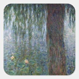 Wasserlilie-weinende Weiden Claudes Monet | Quadratischer Aufkleber