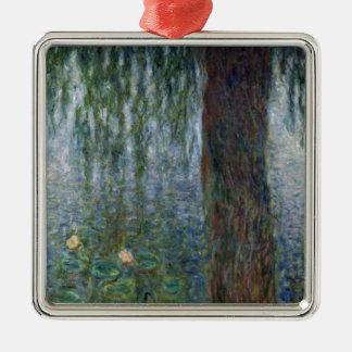 Wasserlilie-weinende Weiden Claudes Monet   Quadratisches Silberfarbenes Ornament