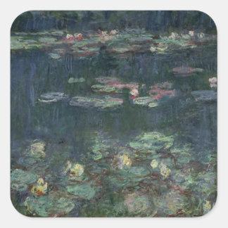 Wasserlilien Claudes Monet |: Grüne Reflexionen Quadratischer Aufkleber