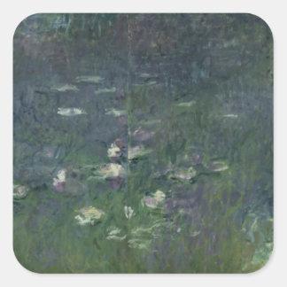 Wasserlilien Claudes Monet |: Morgen, 1914-18 Quadratischer Aufkleber