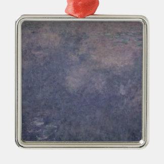 Wasserlilien Claudes Monet  : Zwei weinende Weiden Quadratisches Silberfarbenes Ornament