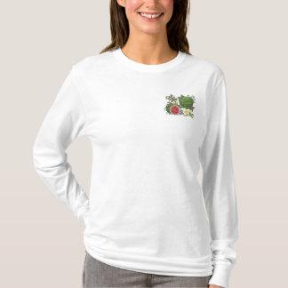Wassermelone-botanische Frucht und mit Blumen Besticktes Langarmshirt