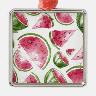 Wassermelone-Druck-Aquarell Quadratisches Silberfarbenes Ornament