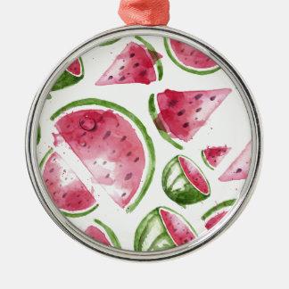 Wassermelone-Druck-Aquarell Rundes Silberfarbenes Ornament