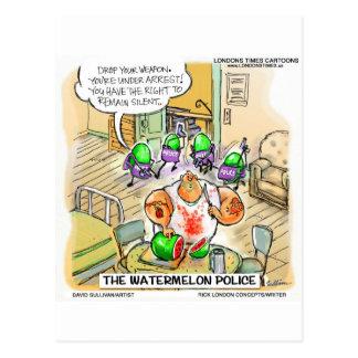 Wassermelone-Mord-lustige T-Shirts-Tassen u. Postkarte