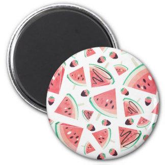 Wassermelonepopsicles, -erdbeeren und -schokolade runder magnet 5,7 cm
