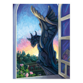 Wasserspeier-Wächter-Fantasie-Kunst Postkarte