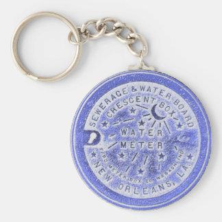 Wasserzähler-Deckel im Blau, New Orleans Standard Runder Schlüsselanhänger