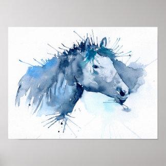 Watercolor-abstrakte Pferdeporträt-Malerei Poster