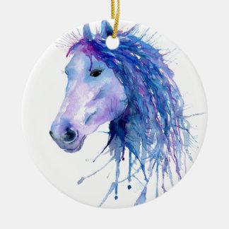 Watercolor-abstraktes Pferdeporträt Rundes Keramik Ornament