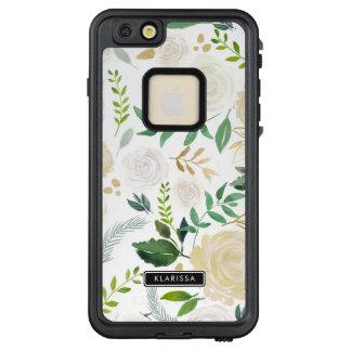 Watercolor-Blumen mit Imitat-GoldGlitter und LifeProof FRÄ' iPhone 6/6s Plus Hülle