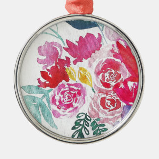 Watercolor-Blumen Silbernes Ornament
