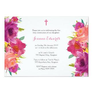 Watercolor-Blumenerste Kommunion personalisiert Karte