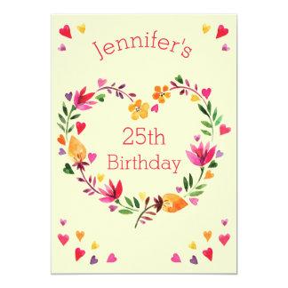 Watercolor-BlumenLiebe-Herzwreath-25. Geburtstag 12,7 X 17,8 Cm Einladungskarte