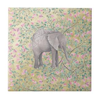 Watercolor-Elefant-Blumen-GoldGlitter Kleine Quadratische Fliese