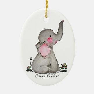Watercolor-erröten niedlicher Baby-Elefant mit u. Keramik Ornament