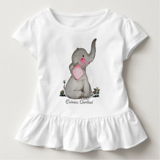 Watercolor-erröten niedlicher Baby-Elefant mit u. Kleinkind T-shirt