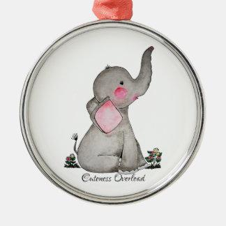 Watercolor-erröten niedlicher Baby-Elefant mit u. Silbernes Ornament