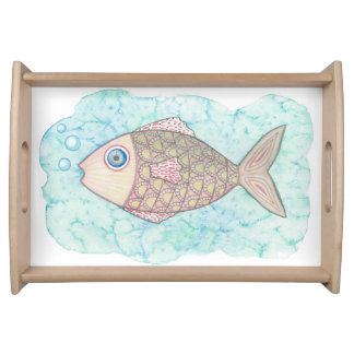 Watercolor Fish Serviertabletts