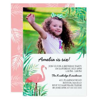Watercolor-Flamingo-Foto-Geburtstags-Party 12,7 X 17,8 Cm Einladungskarte