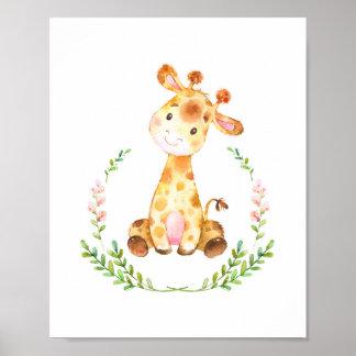 Watercolor-Giraffen-Kinderzimmer-Kunst-Druck Poster