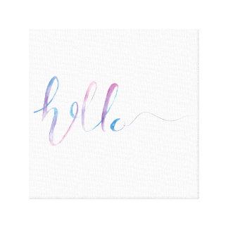 Watercolor-hallo Text auf einem Leinwand-Druck Leinwanddruck