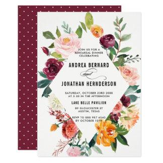 Watercolor-Herbst blüht BlumenProben-Abendessen 12,7 X 17,8 Cm Einladungskarte
