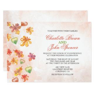 Watercolor-Herbstlaub-Hochzeit im 12,7 X 17,8 Cm Einladungskarte