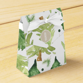 Watercolor-Kiefern-Baum-modernes rustikales Geschenkschachtel