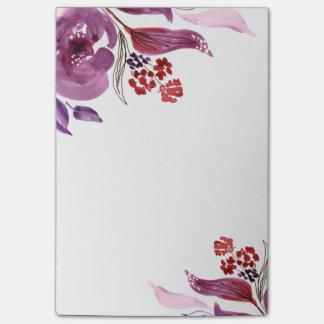 Watercolor lila + Rosa Blumenpost-itanmerkungen Post-it Haftnotiz