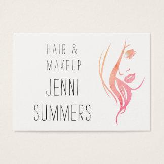 Watercolor-Minimalist bilden u. Haar-Stylist Jumbo-Visitenkarten